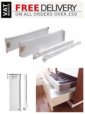 Box of 25 sets of Roller Drawer Runners Metal White Kitchen Size 300 mm