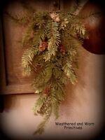 Primitive Country Artificial Variegated Winter Pine Door Hanging Swag 20