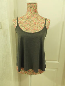 VERY-GOOD-CONDITION-LADIES-PLAIN-GREY-STRAPPY-BAGGY-SWING-TOP-SIZE-8-BY-BOOHOO