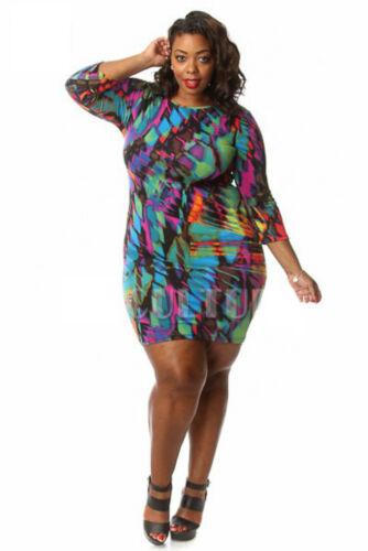 1X,2X,3X Plus Size 3//4 Sleeve Watercolor Abstract Print Bodycon Mini Dress