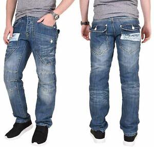 Para-Hombre-de-Disenador-de-pierna-recta-Denim-Jeans-pantalones-pantalones-de-todos-los-tamanos-de