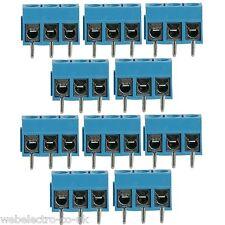05166 10x Blue 3 Way Pole Screw PCB Terminal Block 15A Connectors