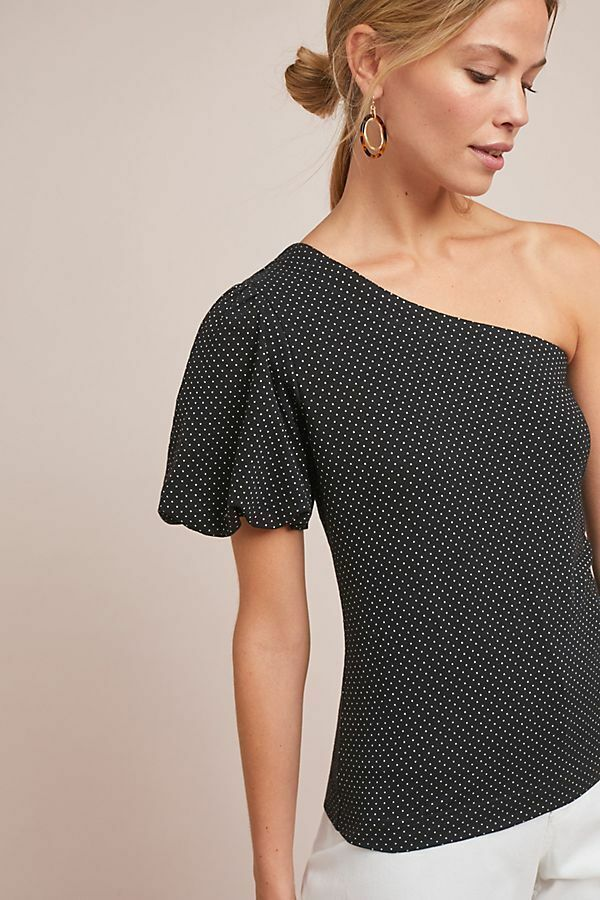 NWT Anthropologie Polka Dot One-Shoulder Top Größe L