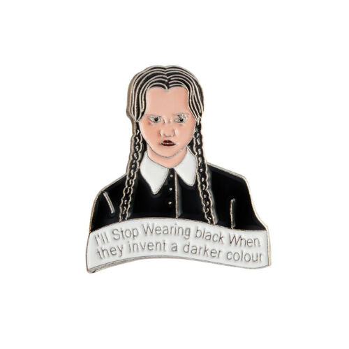 Movie Role Enamel Pin Brooch Writer Edgar Allan Poe Wednesday Addams Fry Badges