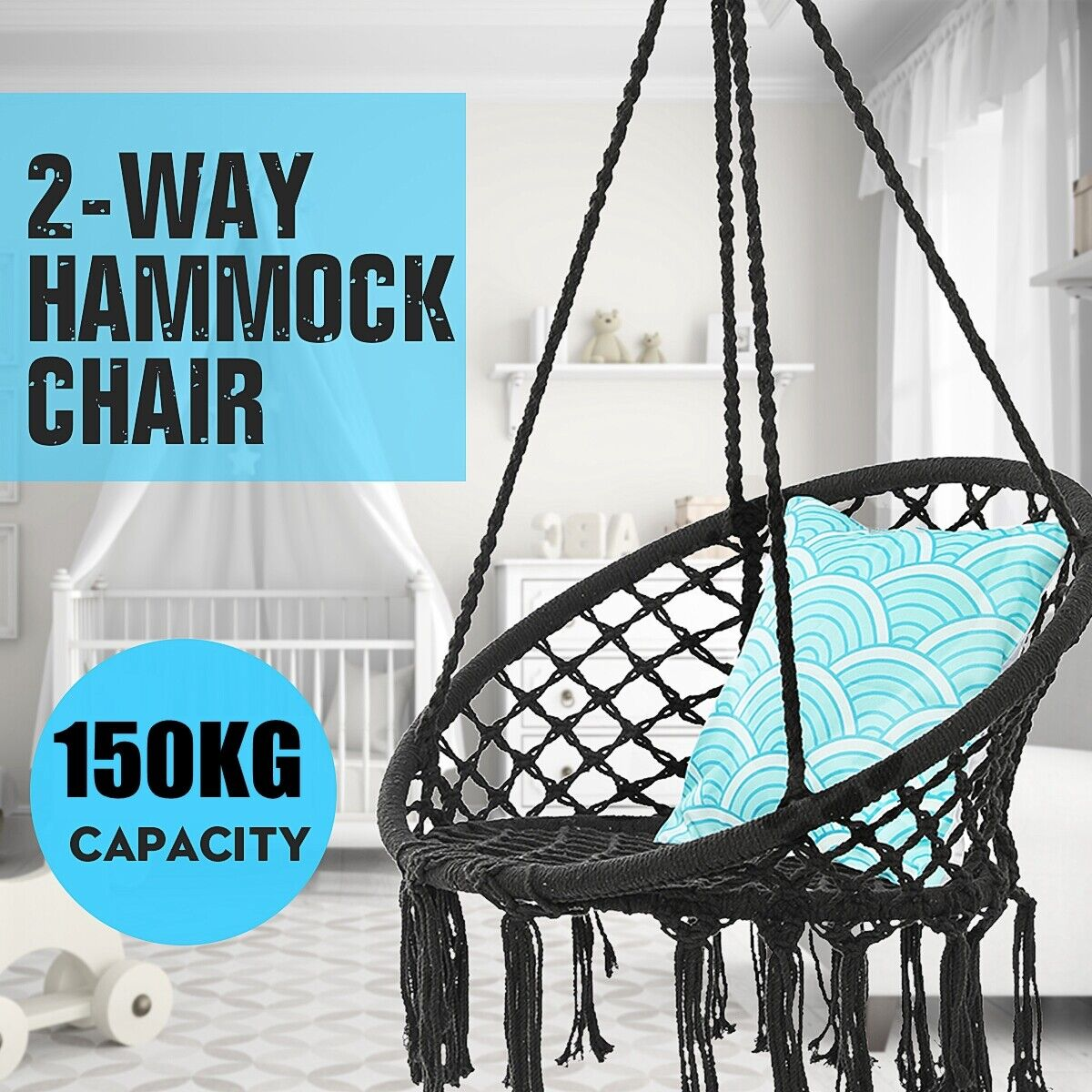 330 Lbs Hanging Swing Hammock Chair Cotton Rope Round Macrame Indoor Outdoor Us