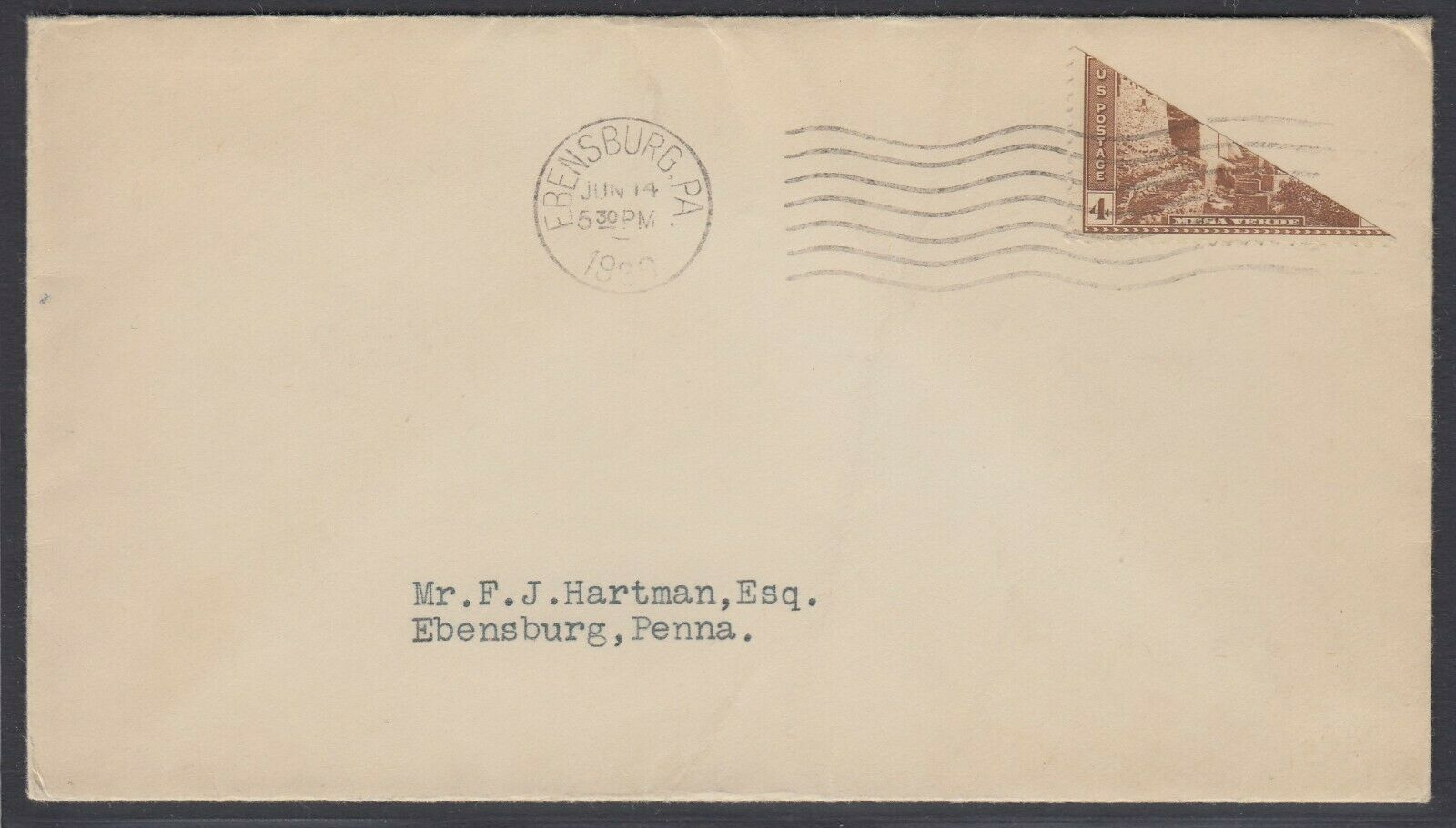 US Sc 743 - 1936 Diagonal BISECT on cover from Ebensburg Pa addressed locally