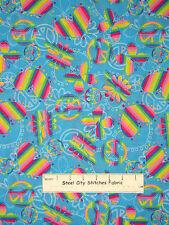 Peace Sign Cotton Fabric Rainbow Hearts Peace Butterfly Daisy on Aqua  ~ Yard