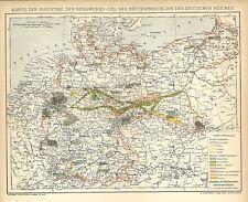 Alte Landkarte 1894: Karte der Industrie, Berkwerk Hütten Deutsches Reich. (B14)