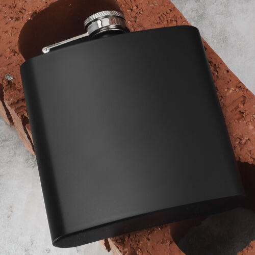 Personalised Black Hip Flask FREE Engraving Groom Bestman Usher Birthday Pageboy