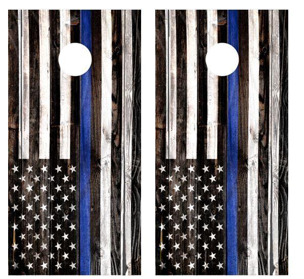 Thin bluee Line Barnwood Cornhole Board Wraps FREE APPLICATION  SQUEEGEE  fashionable