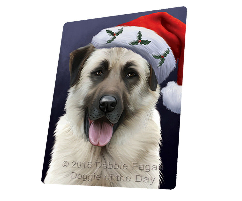 Christmas Anatolian Shepherds Hund Santa Hat Woven Throw Sherpa Blanket T427