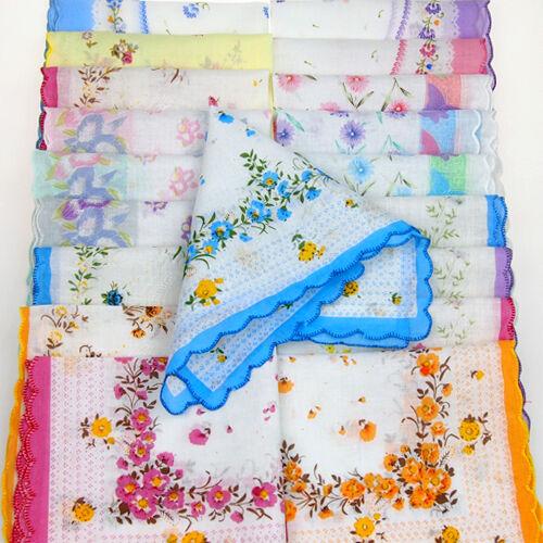 Lot 5-30Pcs Bébé Adulte Coton Doux Mouchoirs Fleur Vintage Quadrate mouchoirs