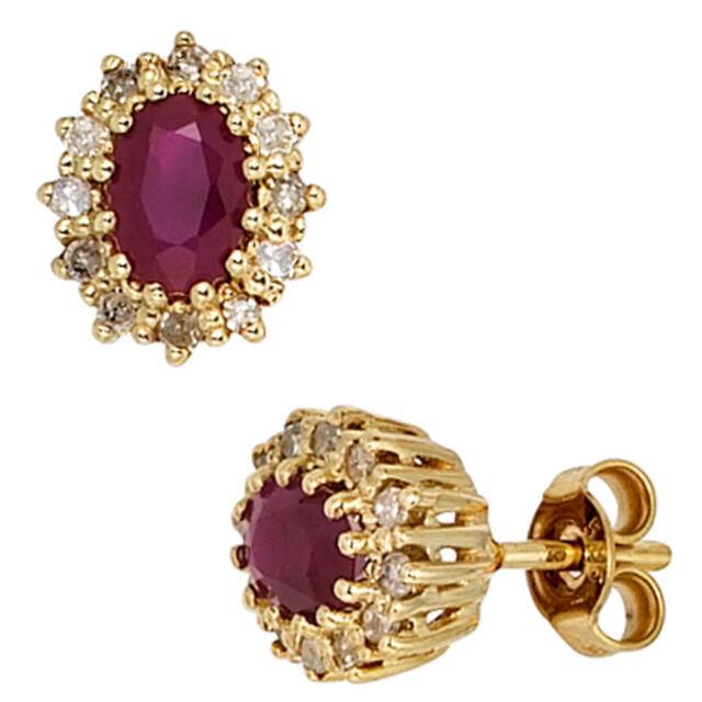 Ohrstecker 585 Gold Gelbgold 24 Diamanten 0,24ct. 2 Rubine rot Ohrringe