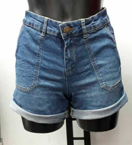DENIM JEAN STRETCHY SHORTS HIGH WAISTED WOMENS CASUAL HOLIDAY FADED HOTPANTS