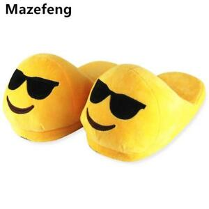 Emoji Slippers Winter Warm Yellow Plush Soft Indoor Shoes Funny