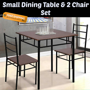 hot sales c96e1 cccf4 Details about Small Dining Table & 2 Chair Set Industrial Look Table Unit  Student Caravan NEW
