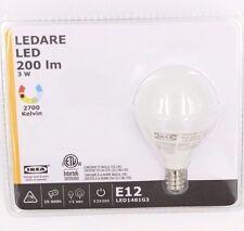 Ikea Ledare Led Lamp Bulb 3w 120v E12 Base 200 Lm Lumen Globe Opal 103 111