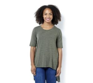 23 Ll L Knit Front Uk Rinna Size Collection Slits Top Green Dh077 Lisa With 7OBvw