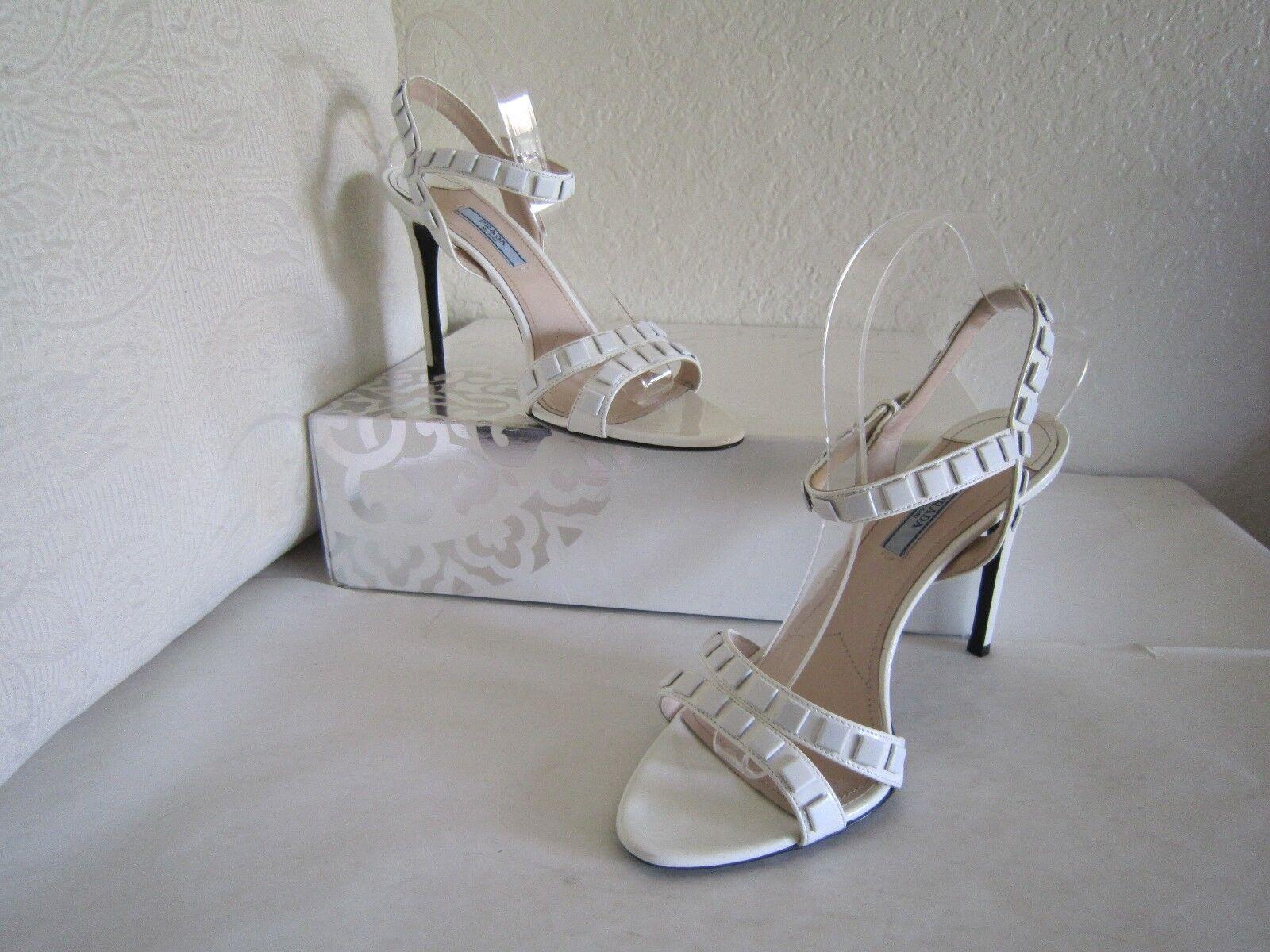Prada White Studded Patent Strappy Sandals   Size 40 US 10