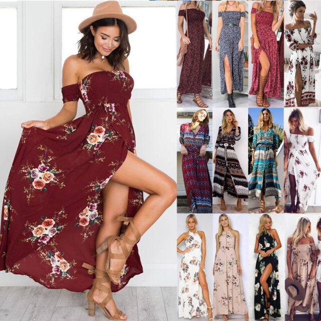 Women Ladies Kaftan Slit Dress Long Maxi Skirt Summer BOHO Beach Sun Dress NEW