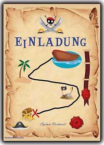 Das Bild Wird Geladen Einladung Kindergeburtstag Einladungskarten  Schatzkarte Pirat Kinder Piraten 8St