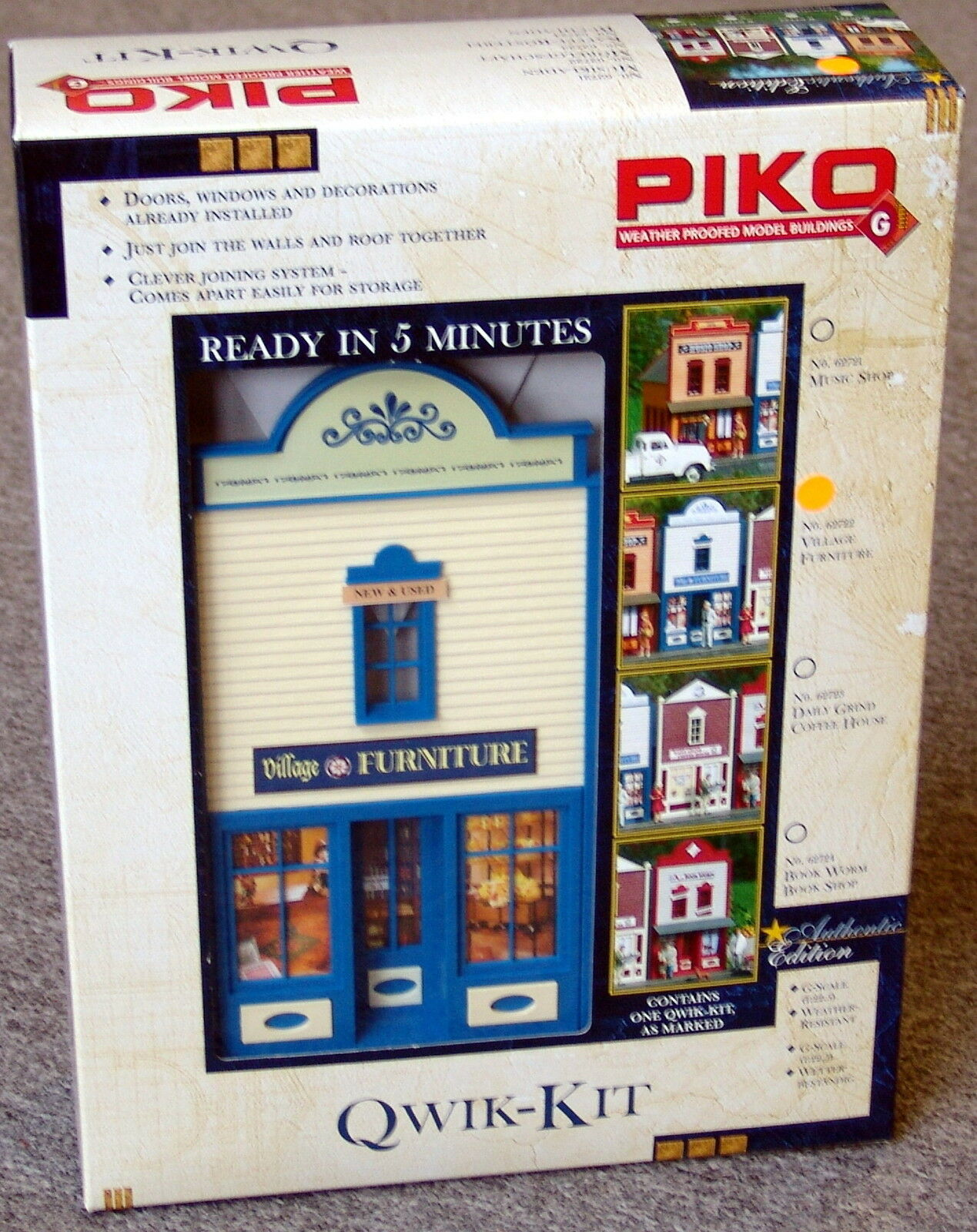 PIKO  VILLAGE FURNITURE FURNITURE FURNITURE  STORE G Scale Building Qwik Kit New in box 9105aa