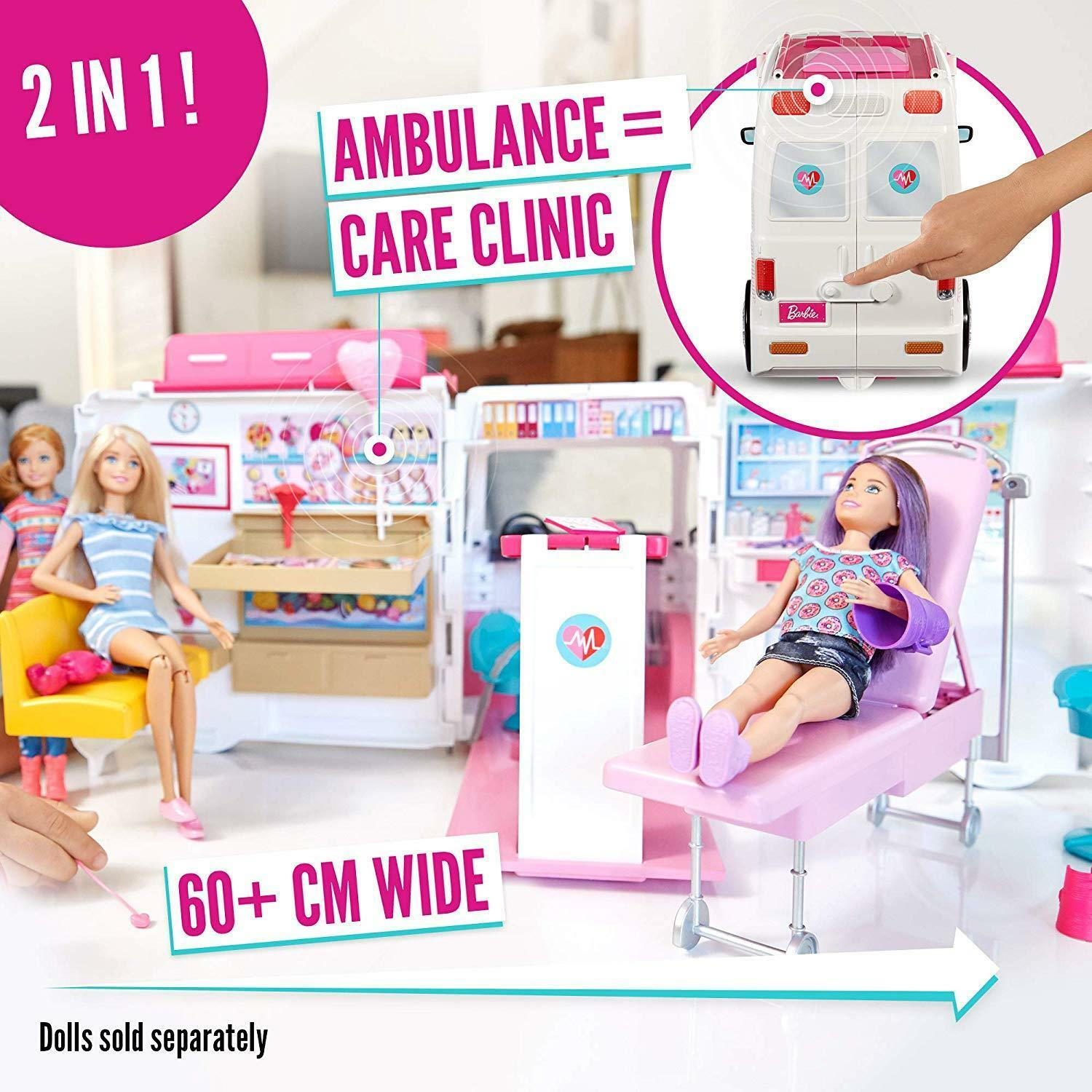 Barbie Play Ambulance Mobile Care Clinic For Dolls With With With Accessories Toy Playset 7e0d57
