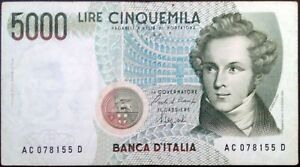 Italy-banknote-5000-lire-year-1985-Vincenzo-Bellini-free-shipping