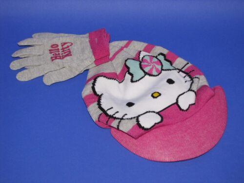 Strickmütze mit Schild und Handschuhe Mädchen Hello Kitty one size Mütze Herbst