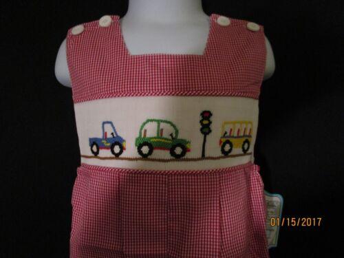 RED /& WHITE BABY CHECK NEW SMOCKED JON JON W// CARS IN TRAFFIC  REMEMBER NGU