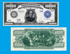 UNC USA 10 000 dollars 1918 Reproductions