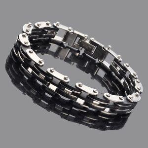 Schwarz-Herren-Gummi-Armband-Silber-Edelstahl-Armband-Kette-mit-Carbon-Fiber-NEU