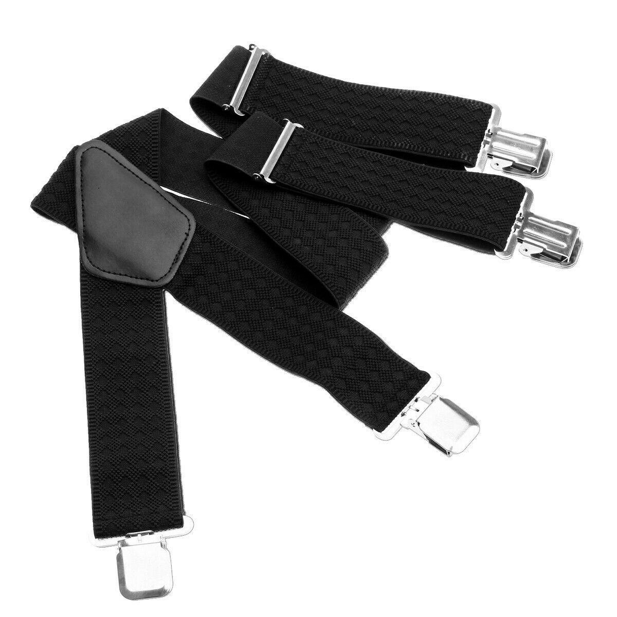 50MM Adjustable Grid Plain Mens Braces Suspenders Heavy Duty Trouser Elastic