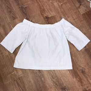 Madewell-Woman-s-White-amp-Blue-Stripes-Off-The-Shoulder-Top-Blouse-Size-Large