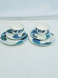 2 Sets Royal Norfolk Paisley Floral Print Stoneware Dinner Salad Plates Bowls