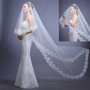 White-Ivory-Cathedral-Length-Lace-Edge-Bride-Wedding-Bridal-Veil-Long-Trails-3M