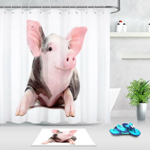 "72x72/"" Cute Pigs 100/% Polyester Fabric Shower Curtain Liner Bath Accessory Sets"
