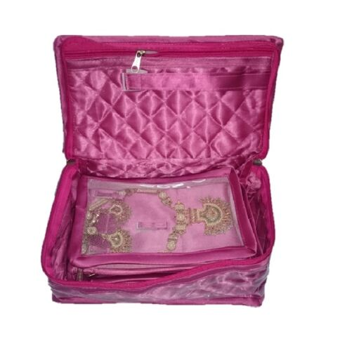 1 Necklace Earring Half Set 5 Pouch Travel Case Storage bag Jewelry box Pink