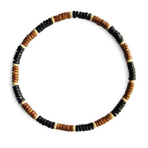 Natural-Wooden-Bead-Surf-Necklace-Tribal-Mens-Womens-Beach-on-Elastic-Cord