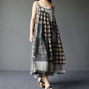 fa66d21b503b Details about Women Summer Sleeveless Dress Casual Linen Strappy Loose Boho  Bohomia Long Skirt