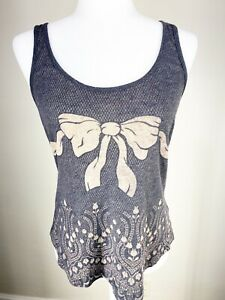 Silence-amp-Noise-Urban-Outfitters-Women-039-s-size-small-Tank-Top-Shirt-Gray-Bow-UO