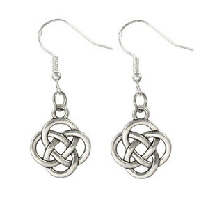 12 x Wholesale Vintage Silver Dangling Dangle Irish Round Knot Celtic Earrings