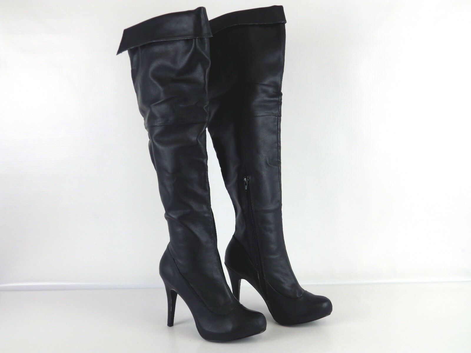 """Ami Clubwear BLACK Faux Leather 4"""" Stiletto Over Knee Boots Women's Size 7 1/2"""