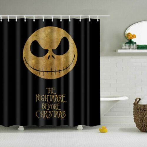 Halloween Jack Polyester Waterproof Bathroom Fabric Shower Curtain 12 Hook