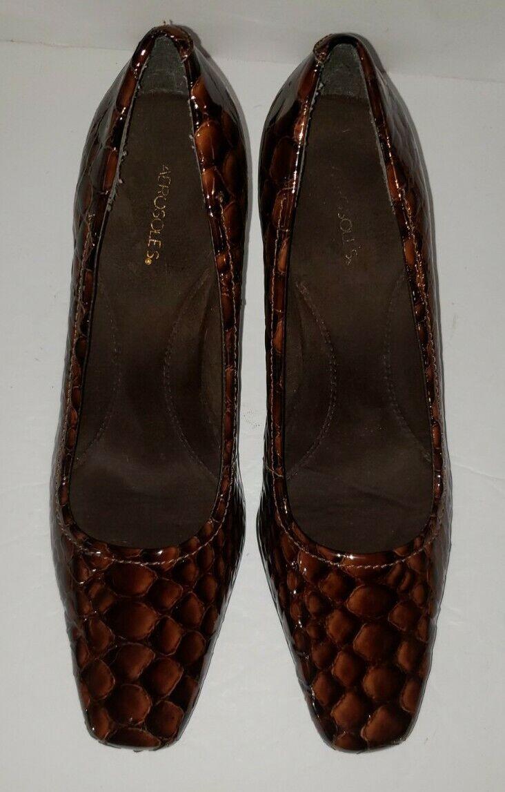AEROSOLES brown Patent Leather Faux Croc Comfort Heels Pumps 10