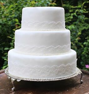 Details About Ivory Lace Pearls Wedding Cake Decoration Topper Set Vintage Style Rustic