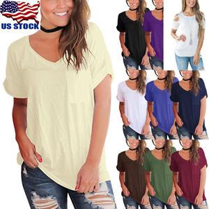 Womens-Shirts-V-Neck-Top-Tee-Short-Sleeve-Cotton-Pocket-Plain-Loose-T-Shirts-USA