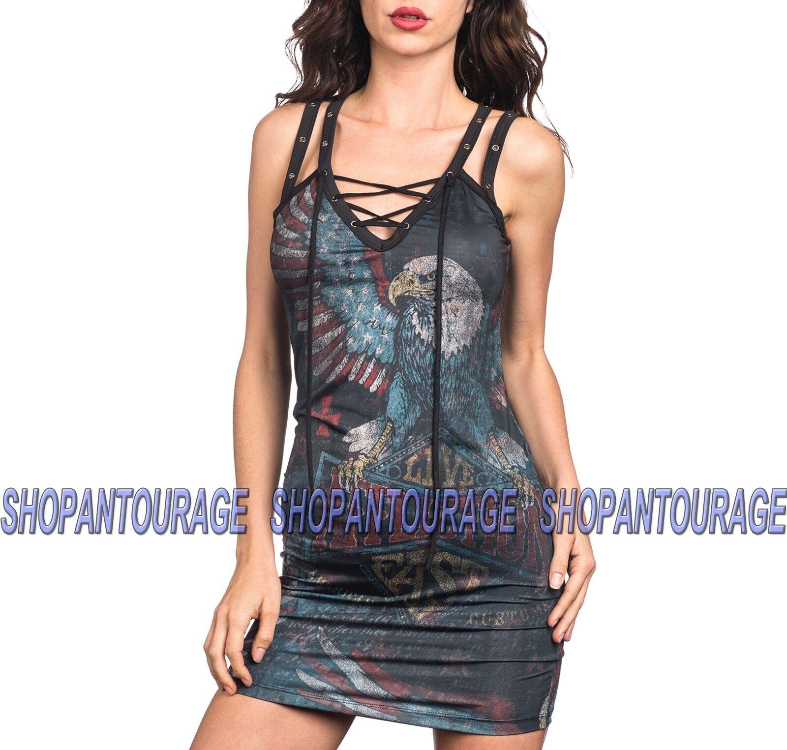 AFFLICTION Eagle Dare AW10135 New Fashion Stretchy schwarz Dress for damen