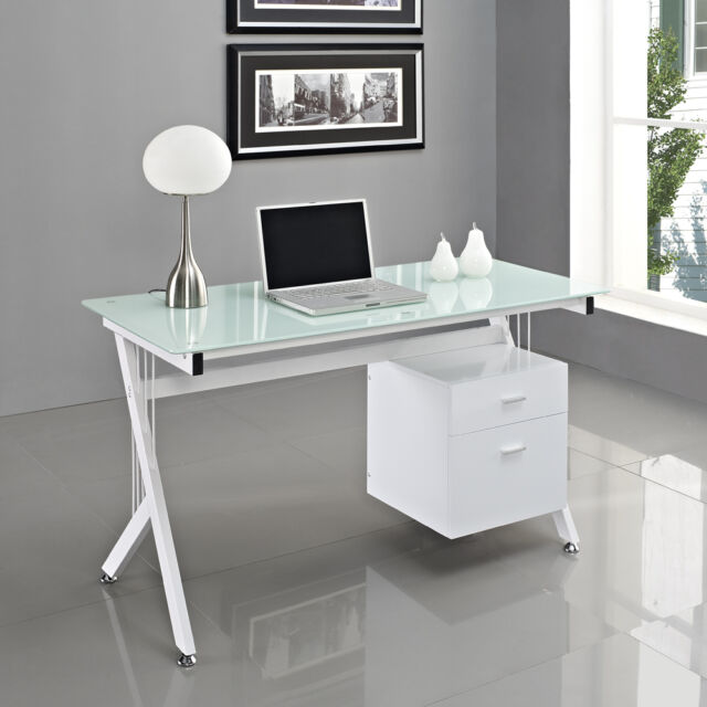 Computer Desk PC Table Home Office Black White Glass Furniture Workstation New
