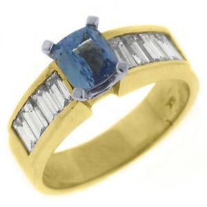 WOMENS-TANZANITE-DIAMOND-ENGAGEMENT-RING-2-2-CARAT-EMERALD-CUT-14KT-YELLOW-GOLD